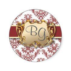 Deep Red & Gold Elegant Wedding Envelope Seal - 2 Round Stickers: Damask Matching Wedding Invitation Set #Wedding #Invitation #damask