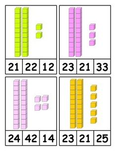 Place Value Clip Cards for Two Digit Numbers with Base Ten Blocks - Practicing counting to 100 with these base ten clip cards for numbers Math Practice Worksheets, Kindergarten Math Worksheets, Preschool Math, Math Resources, Teaching Math, Math Activities, Math Games, Abacus Math, 1st Grade Math