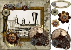 8x8 vintage steampunk steam train on Craftsuprint designed by Carol Smith - an 8x8 topper sheet for the guys great for all the men but especially suitable for those who love trains, has vintage picture of a steam train framed and decorated with steampunk elements, has a co-ordinating blank tag for the greeting of your choice could be for birthday or retirement,thank you for looking please take a peek at my other items - Now available for download!