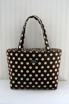 Brown Dot Boxy Tote Bag by ElisaLou on Etsy, $70.00