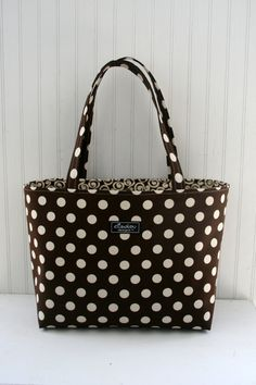 Brown Dot Boxy Tote Bag by ElisaLou on Etsy, $70.00