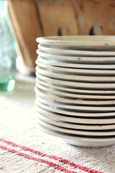 stacked vintage ironstone