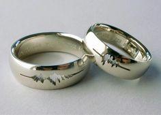 "Sakura Koshimizu. The couple's vouce patterns saying ""I do"" etched on their bands"