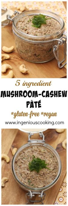 Mushroom-cashew pâté - #5 ingredients in under #20 minutes! #veganspread #gluteenfree #healthyfood