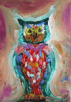 Vintage abstract owl painting