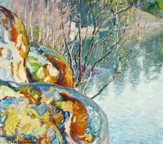Pekka Halonen 1865-1933 WILLOW TREES IN SPRING. Sign. 1914. Oil on canvas, 48x53 cm.