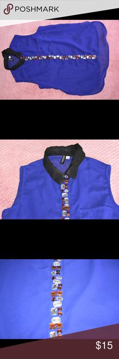 Royal Blue Muscle Button Down Royal Blue Muscle Button Down with gold & silver gems Tops Button Down Shirts