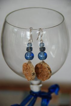 Blue Beaded Wine Cork Earrings by GulfCoasters on Etsy
