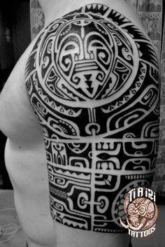 Polynesian Shoulder & Chest Tattoos - Ti'a'iri Polynesian Tattoo #samoantattoosshoulder #polynesiantattoosshoulder #maoritattoosshoulder