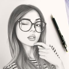Realistic Drawing Tips - Realistic Pencil Drawings requires a lot of practice to achieve the desired results. The tools which are required are some print-making paper or any paper which can soak up enough graphite, use the Pencil Portrait Drawing, Realistic Pencil Drawings, Pencil Drawing Tutorials, Girly Drawings, Pencil Art Drawings, Drawing Tips, Drawing Portraits, Girl Pencil Drawing, Drawing Ideas
