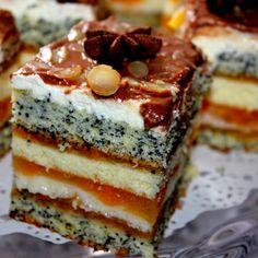 Brzoskwiniowy przekładaniec (autor: iskierka.ag) - DoradcaSmaku.pl Eat Dessert First, Food Cakes, Tiramisu, Cake Recipes, Sweet Tooth, Cheesecake, Baking, Ethnic Recipes, Poppy