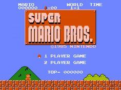 Super Mario Bros. Designed by Shigeru Miyamoto and Takashi Tezuka. Released September 13, 1985 by Nintendo as a pseudo-sequel to the 1983 game Mario Bros. So many childhood memories :')