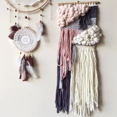 Dusky Pink and Mauve wall hanging
