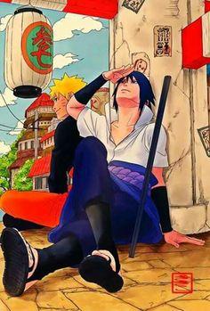 Sasuke and Naruto chilling in the village.