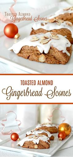 Toasted almond gingerbread scones are frosted and topped with a sprinkling of almonds. Delicious and festive holiday flavor for breakfast or coffee break. Fall Desserts, Christmas Desserts, Christmas Baking, Just Desserts, Delicious Desserts, Christmas Goodies, Sweet Desserts, Diy Christmas, Best Dessert Recipes