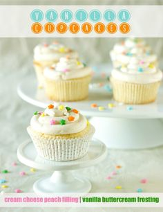 Vanilla Cupcakes with Cream Cheese Peach Filling and Simple Vanilla ...