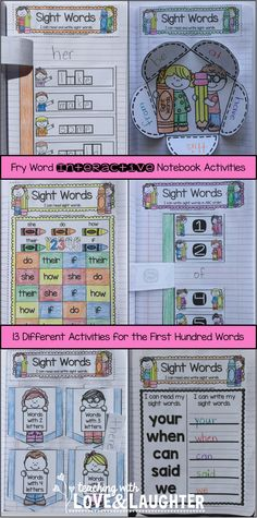 Fry Words Interactive Notebook Activities {The First Hundred Words} Contains 13 different (editable) sight word activities!
