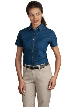 Ladies Short Sleeve Denim Shirt, 6.5-oz 100% cotton, open collar, XS-Plus Size 4XL. Free shipping, custom logo embroidery True to Size Apparel