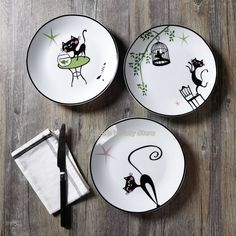 Lovely Cartoon fashion Slinky Cat 8 inches Ceramic round plate Dish fruit Steak dish Porcelain Tableware Microwave available-in Dishes & Plates from Home & Garden on Aliexpress.com   Alibaba Group Pottery Painting Designs, Pottery Designs, Ceramic Painting, Ceramic Art, Ceramic Plates, Decorative Plates, Plate Drawing, Steak Dishes, Green Wall Decor