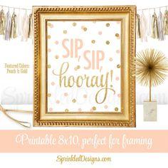 Sip Sip Hooray - Brunch Decorations, Wine Bar Cart Sign, Wine Rack Sign, Monograms & Mimosas Shower Decor, Peach Gold Glitter Printable 8x10 - SprinkledDesigns.com