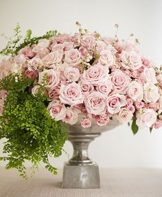 maiden hair fern and blush roses and spray roses