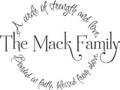 Family Circle Name | Wall Decals  A circle of strength and love, bonded in faith, blessed from above