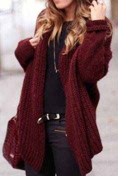 #fall #fashion / all black + red knit