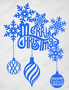 Merry Christmas design with snowflakes and balls, SVG, DXF, PNG, EPS ,CDR, PDF, print and cut files for tattoo design, t-shirt design, sticker, wall decor, scroll saw, car decal. Digital template/stencil files for use with Silhouette, Cricut and other Vinyl Cutters and printing machine.