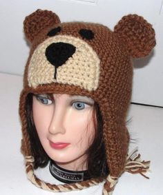 Crochet Bear Bear - You are buying the crochet pattern to make the hat shown yourself and not the made hat. This hat pattern is a crochet pattern and is adjustable for toddler, child or adult sizes. It is for the advanced beginner crocheter. Crochet Bear Hat, Crochet Teddy, Cute Crochet, Beautiful Crochet, Crochet Dolls, Easy Crochet Projects, Knitting Projects, Crochet Ideas, Crochet Patterns