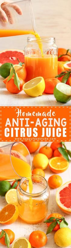 Homemade Anti-Aging Citrus Juice Recipe - Happy Foods Tube Reduce wrinkles with this Homemade Anti-Aging Citrus Juice Recipe. Vitamin C rich juice helps reduce aging signs and maintain healthy skin via Juice Cleanse Recipes, Detox Diet Drinks, Detox Juice Cleanse, Detox Juices, Detox Recipes, Citrus Recipes, Healthy Detox, Healthy Smoothies, Healthy Drinks
