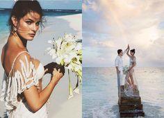 Brazilian supermodel Isabeli Fontana married her man, musician Diego Ferrero, in a completely sheer outfit by swimwear brand Água de Coco