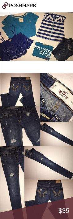 Lot of Hollister shirts and skinny Jeans All of these are sizes xs and s all worn once and washed, in great condition. The jeans are distressed style and size 00.  paid full price for all at about $160 you get all of these for a great price! Hollister Tops