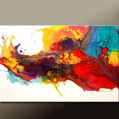 Abstract Canvas Art Painting 36x24 Original Modern Contemporary Paintings by Destiny Womack - dWo - Rainbow Song