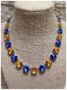 Royal Blue and Gold Team colored necklace in Swarovski large round crystals.