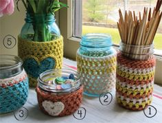 Up-cycle jars with cute crochet cozies