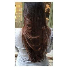 Soft balayage in dark hair by Seline @ Salon B, Almere