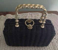 Vintage Summer Black Wicker Lunch Box Style by InTheMood4Vintage, $32.00