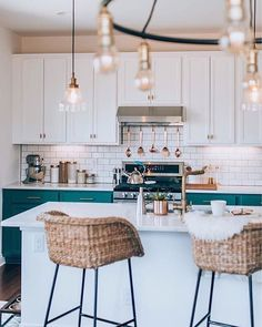 scandi kitchen with a pop of colour