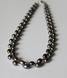 Peacock black pearl braided necklace, Genuine fresh water pearls, twisted pearl necklace