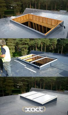 Roof Lantern and Flat Glass Roof Light transform Hampshire property XACT Flat Glass Roof Light 3500 Flat Roof Skylights, Casas Country, Skylight Design, Roofing Options, Roof Lantern, Roof Extension, Roof Installation, Roof Window, Roof Structure