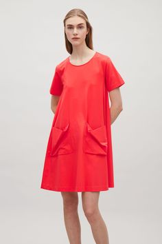 Pockets! COS image 15 of A-line jersey dress in Signal Red