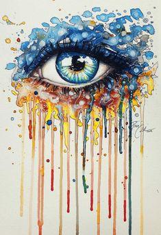 Inside glow print version Svenja Jödicke is a traditional artist from Berlin, Germany, who has created mind blowing eye art paintings. Svenja loves to Art And Illustration, Eyes Artwork, Art Aquarelle, Watercolor Art, Eye Painting, Speed Paint, Eye Art, Amazing Art, Cool Art