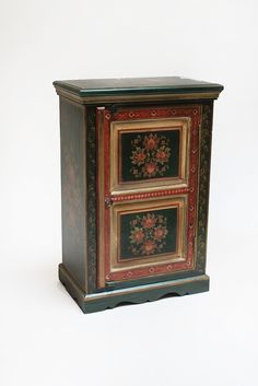 beautiful hand painted cabinet with Mughal floral patterns is distinctive in its color and design. This piece comes in red, grass green, turquoise, blue, and yellow as well. #cabinet #sidetable #mughal #furniture #floral #hoemdecor