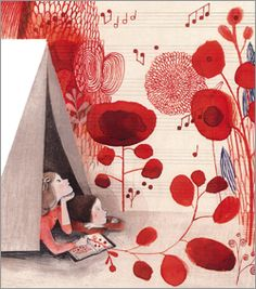 Spring 2016 Children's Sneak Previews Cloth Lullaby by Amy Novesky, illus. by Isabelle Arsenault, a picture-book biography of the childhood of sculptor Louise Bourgeois