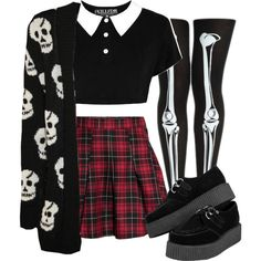 Cute goth by duskull on Polyvore featuring Mode, WearAll, H&M and Killstar