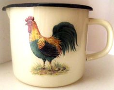 1940's Vintage French Cream Enamel Jug Cockeral Rooster Collectible Kitchenalia French Farmhouse