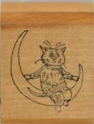Edward Gorey Cat Sitting on the Moon Rubber Stamp by Kidstamps