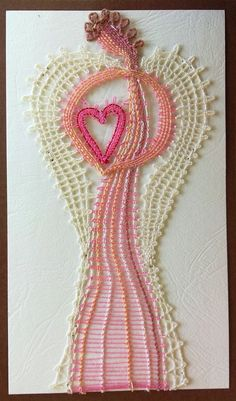 přání / Zboží prodejce yany.kytka | Fler.cz Bobbin Lace Patterns, Lacemaking, Lace Heart, Parchment Craft, Lace Jewelry, Needle Lace, Lace Detail, Tassel Necklace, Handmade