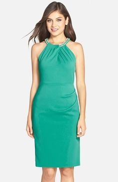 Laundry+by+Shelli+Segal+Embellished+Crepe+Sheath+Dress+available+at+#Nordstrom