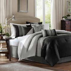 With Piped Detailing This Faux Silk Comforter Set Will Transform Your Master Suite Into A Relaxing Retreat